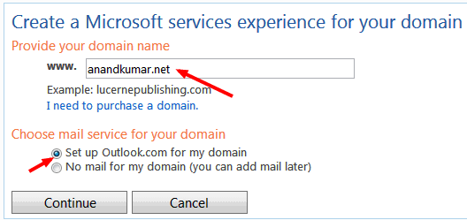 How to setup Microsoft Outlook custom domain for free email