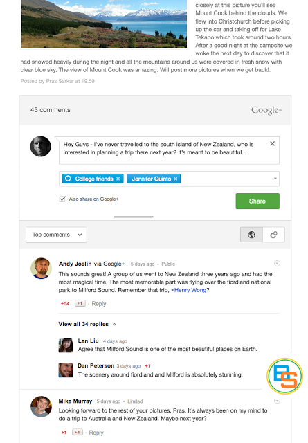 Google+ comments screenshot