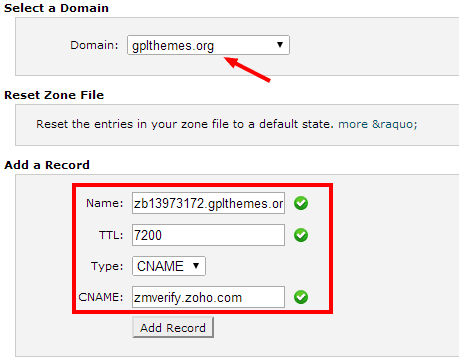 cPanel add cname